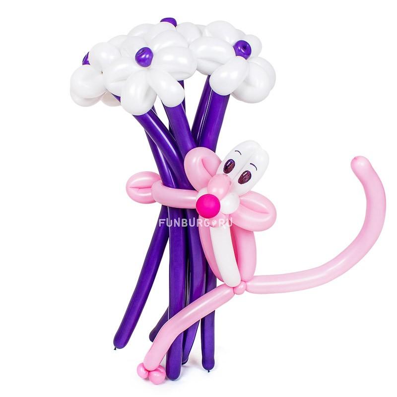 Фигура из шаров «Розовая пантера»Цветы из шаров<br>Высота: 80-90 см<br> Производитель: Funburg.ru<br> Состав: пантера и букет из семи цветов<br>
