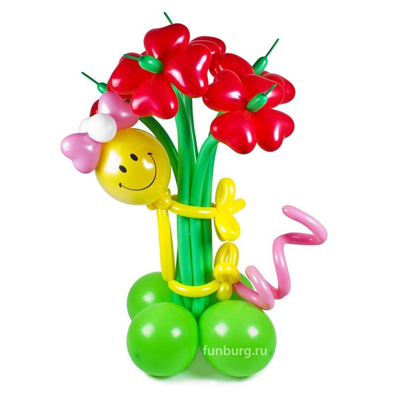 Фигура из шаров «Влюбленная девочка»Все фигуры<br>Состав: девочка и букет из 5, 7, 9 или 11 цветков<br> Высота: 90-100 см<br> Производство: Funburg.ru<br>