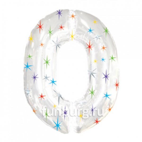Шар из фольги «Цифра 0 (белая)»Цифры<br>Размер: 100?60 см Производитель: Grabo S.r.l., Италия<br>