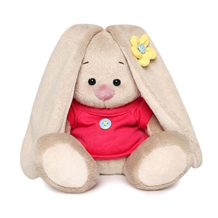 Купить Мягкая игрушка «Зайка Ми в малиновой футболке с пуговкой»