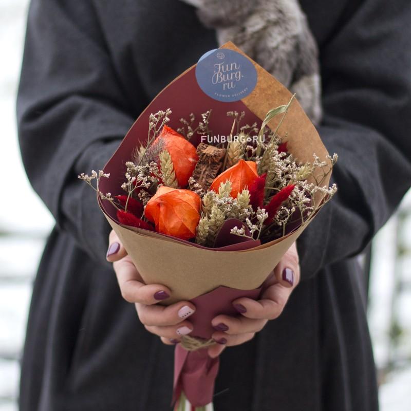 Букетик из сухоцветов «Искра» фото
