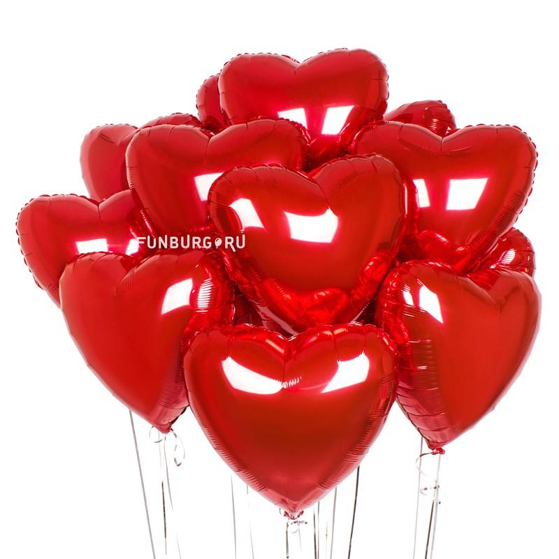 Связка шаров «Красные сердца»В форме сердца<br>Количество: 15 или 30 сердец<br> Размер: 45 см (18)<br> Производитель: Flexmetal, Испания<br>