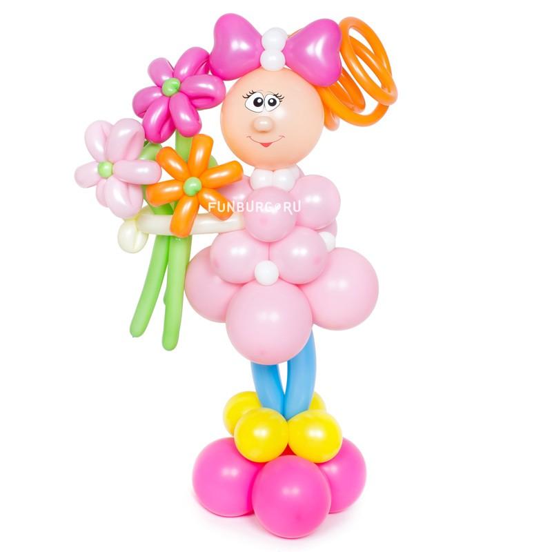 Фигура из шаров «Девочка с букетом» фото