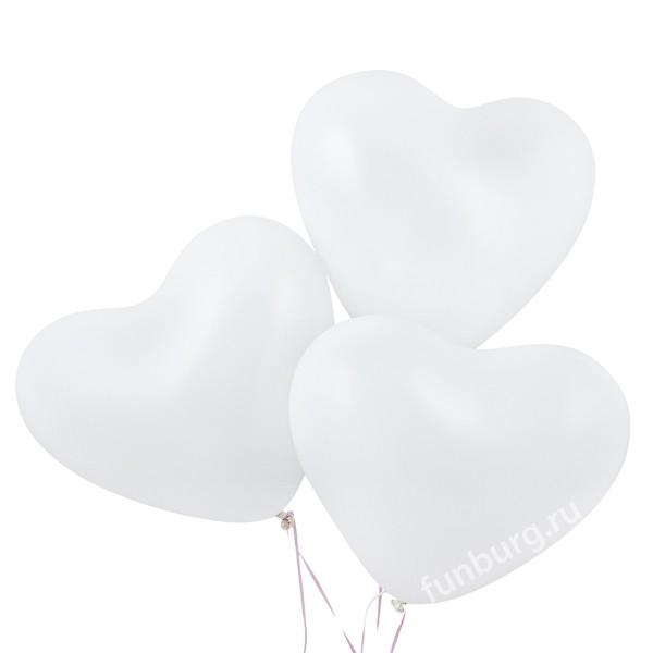 Воздушные шары (16дюймов) «Белые сердца»В форме сердца<br>Размер: 40 см (16)<br> Производитель: Sempertex, Колумбия<br>