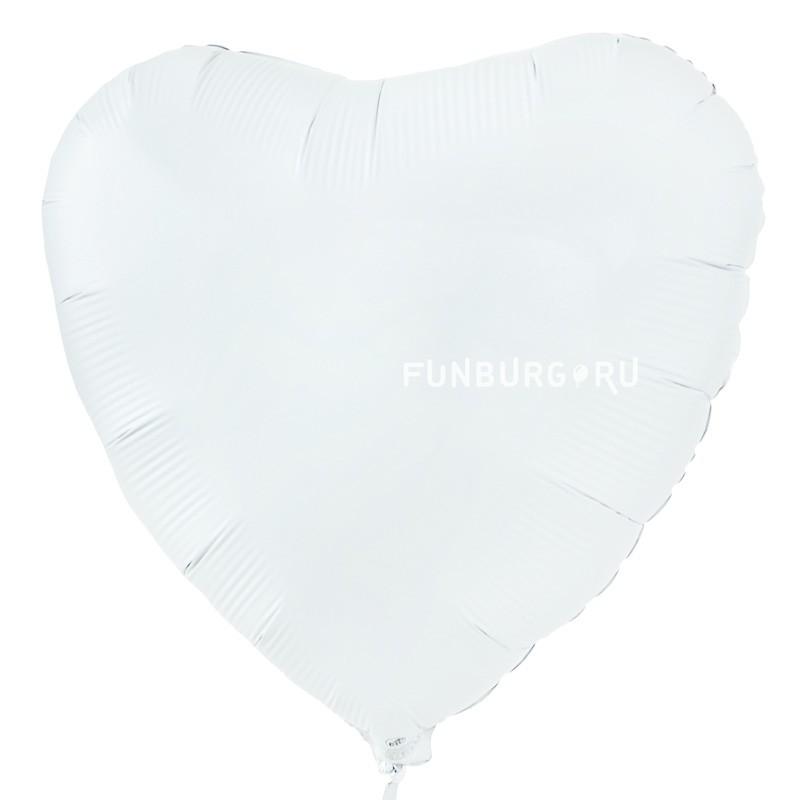 Шар из фольги «Белое сердце» фото