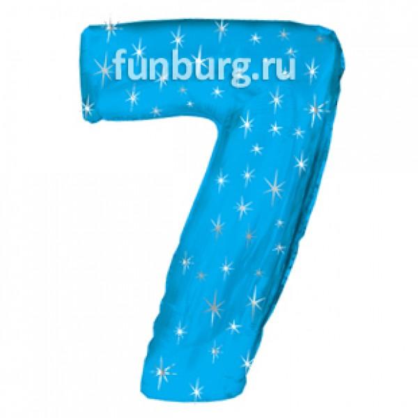 Шар из фольги «Цифра 7 (голубая)» фото