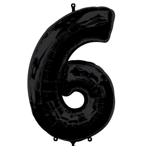 Шар из фольги «Цифра 6 (чёрная)»Цифры<br>Размер: 100?60 см Производитель: Betallic, США<br>
