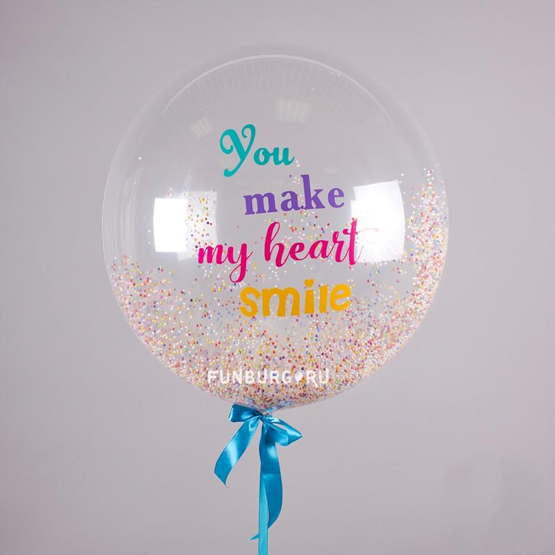 Шар Bubble с конфетти «Smile» фото