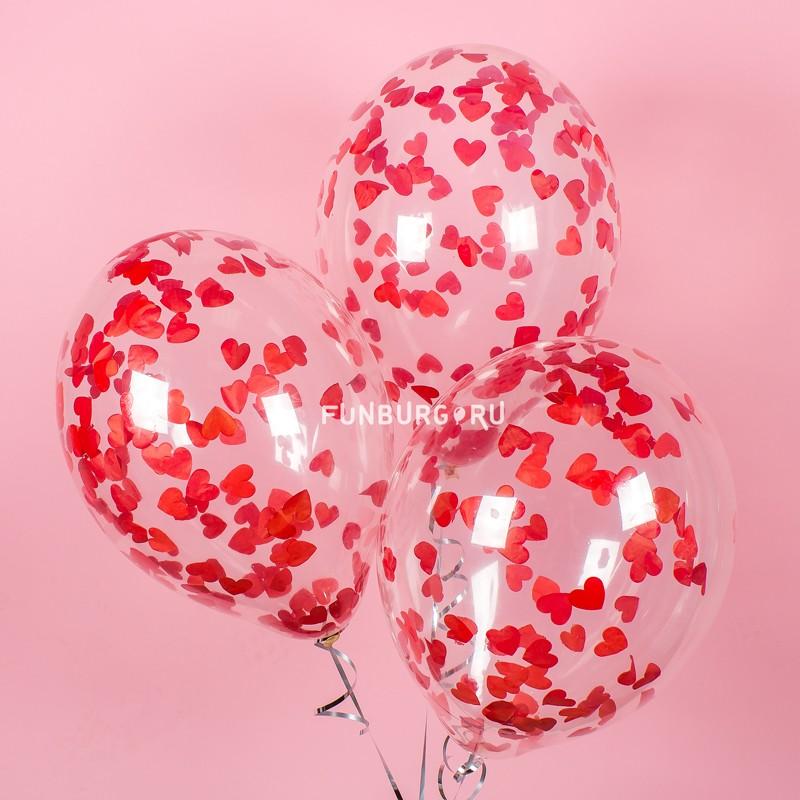 Шар с конфетти «Сердечки» красные  - купить со скидкой