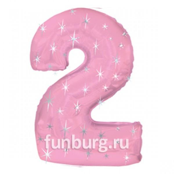 Шар из фольги «Цифра 2 (розовая)» фото