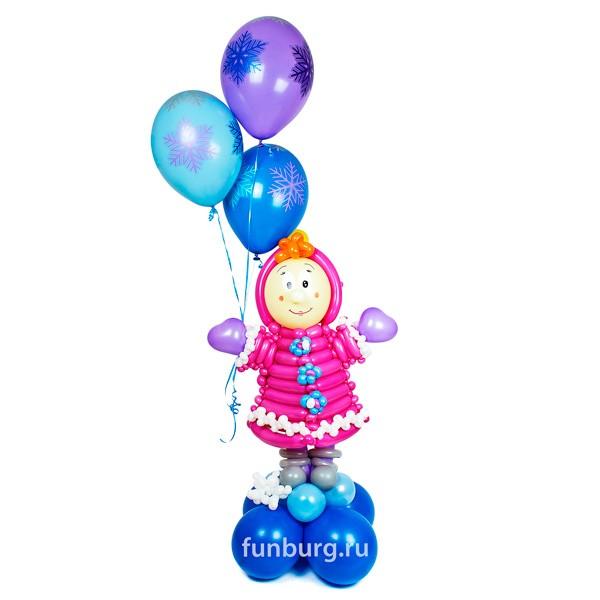 Фигура из шаров «Новогодняя Маша»Все фигуры<br>Размер фигуры: 60?110 см<br>Высота композиции 180 см<br>Производство: Funburg.ru<br>