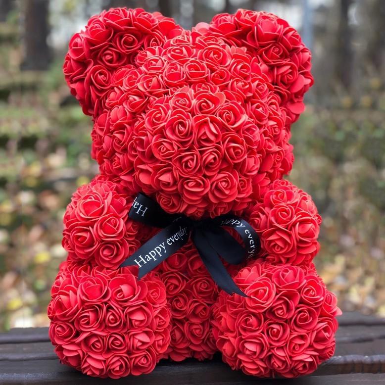 Мишка из роз «Красный» фото
