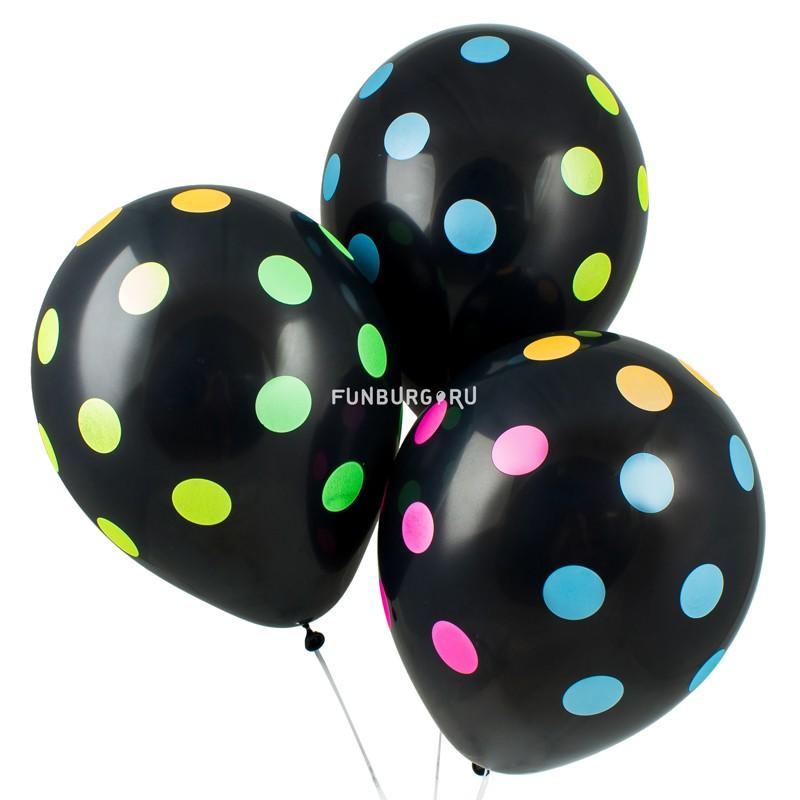 Воздушные шары «Неоновые точки»На вечеринку<br>Размер: 30 см (12)<br> Производитель: Sempertex, Колумбия<br> Цвет шаров: чёрный с разноцветными точками (многоцветная неоновая печать).<br> Точки светятся при ультрафиолетовом свете.<br>