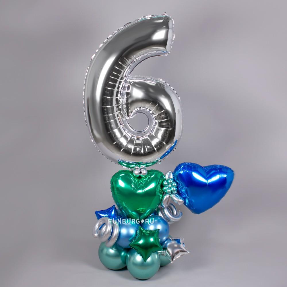 Фигура из шаров с цифрой «Блеск» фото