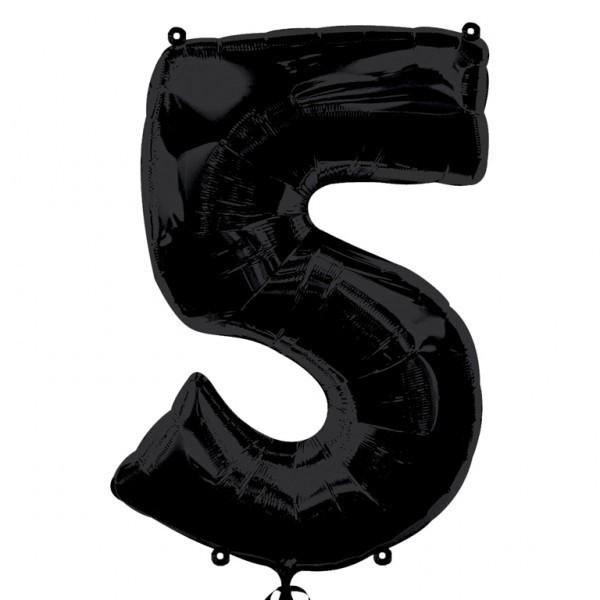 Шар из фольги «Цифра 5 (чёрная)» фото