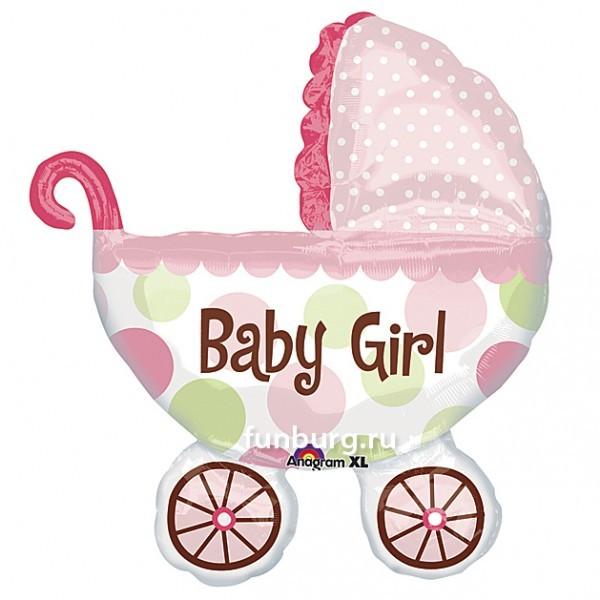 Купить Шар из фольги «Детская коляска (розовая)»