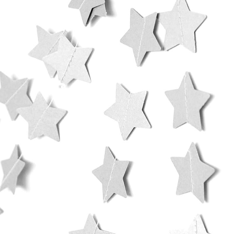 Гирлянда из звездочек «Серебряные звезды»Бумажные гирлянды<br>Цена указана за метр гирлянды<br><br> <br>Материал:<br><br><br>дизайнерская бумага, нитки<br>