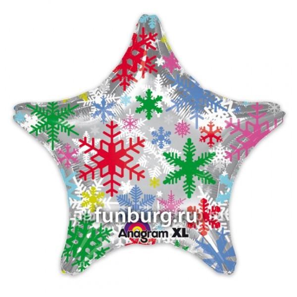 Купить Шар из фольги «Звезда со снежинками»