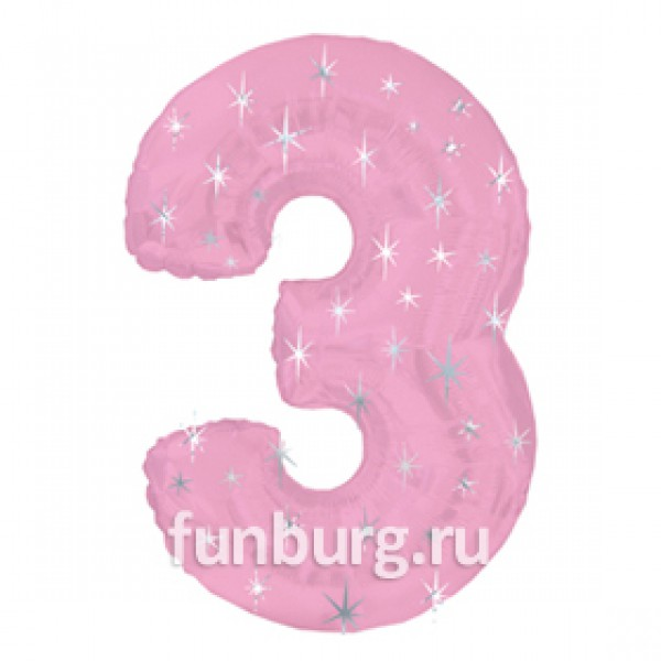 Шар из фольги «Цифра 3 (розовая)» фото