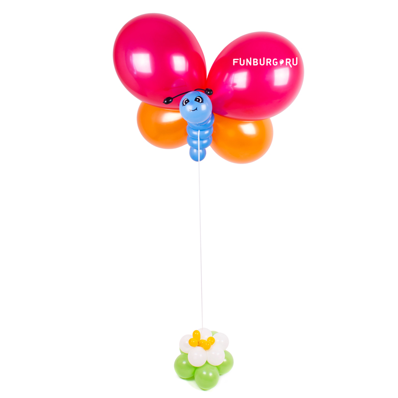 Фигура из шаров «Бабочка»Летние шары<br>Размах крыльев бабочки: около 60 см<br> <br><br> Цвета шаров, используемых при создании бабочки, могут быть изменены в соответствии с вашим желанием! Консультируйтесь с операторами интернет-магазина.<br><br>