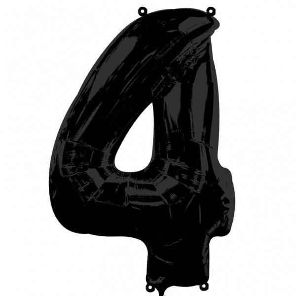 Шар из фольги «Цифра 4 (чёрная)»Цифры<br>Размер: 100?60 см Производитель: Betallic, США<br>