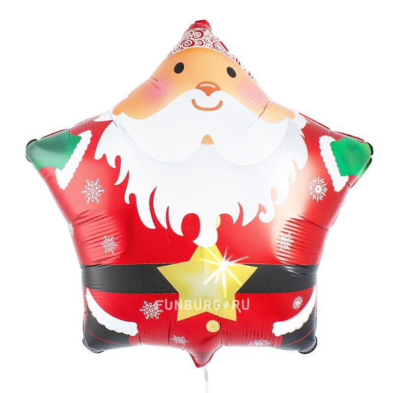 Купить Шар из фольги «Звезда Санта»