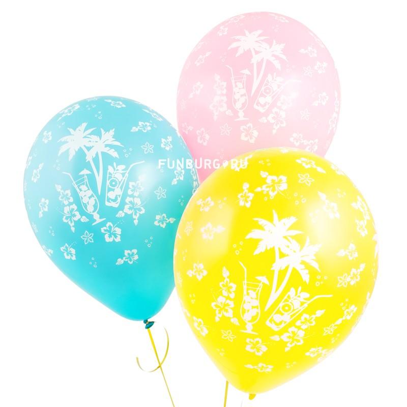 Воздушные шары «Гавайская вечеринка»Латексные с рисунком<br>Размер: 30 см (12)<br>Производитель: Sempertex, Колумбия<br>Цвет шаров: ассорти (пастель)<br>