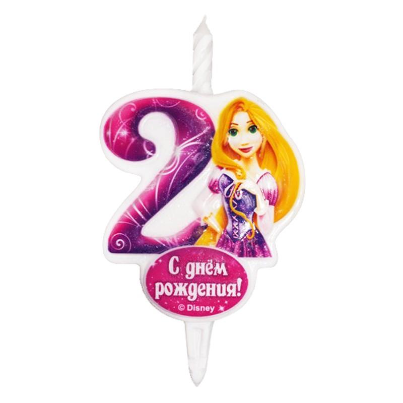 Свеча тортовая Цифра 2 «Принцесса Рапунцель»Свечи на торт<br> <br>Размер:<br><br><br>12?6,8 см<br><br>