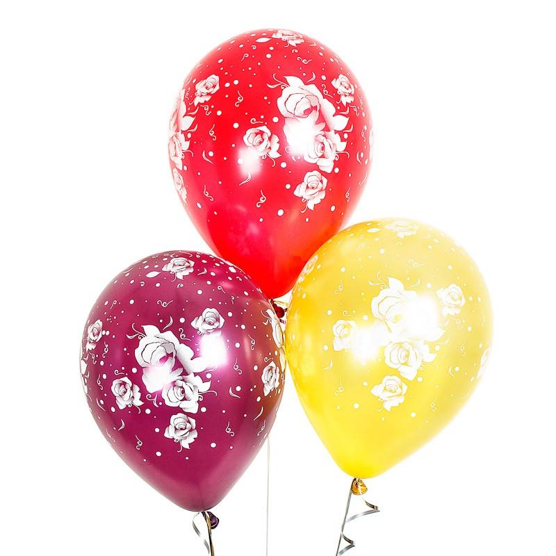 Воздушные шары «Розы»Латексные с рисунком<br>Размер: 30 см (12)Производитель: Sempertex, КолумбияЦвет шаров: ассорти (металл)<br>