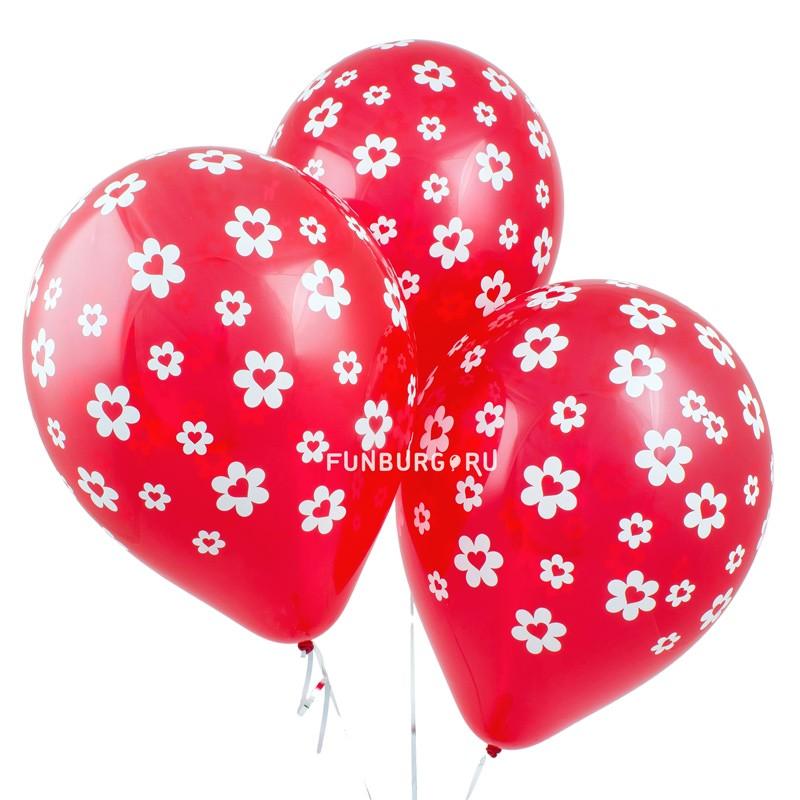 Воздушные шары «Сердце в цветке»Латексные с рисунком<br>Размер: 30 см (12)Производитель: Sempertex, КолумбияЦвет: красные шарики с белым рисунком<br>