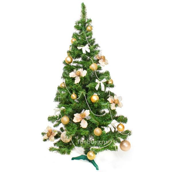Новогодняя елкаНовый год и Рождество<br> <br>Состав:<br><br><br>ель «Таежная»1,5м, искусственные соцветия магнолии, шары елочные, банты, бусы<br><br>