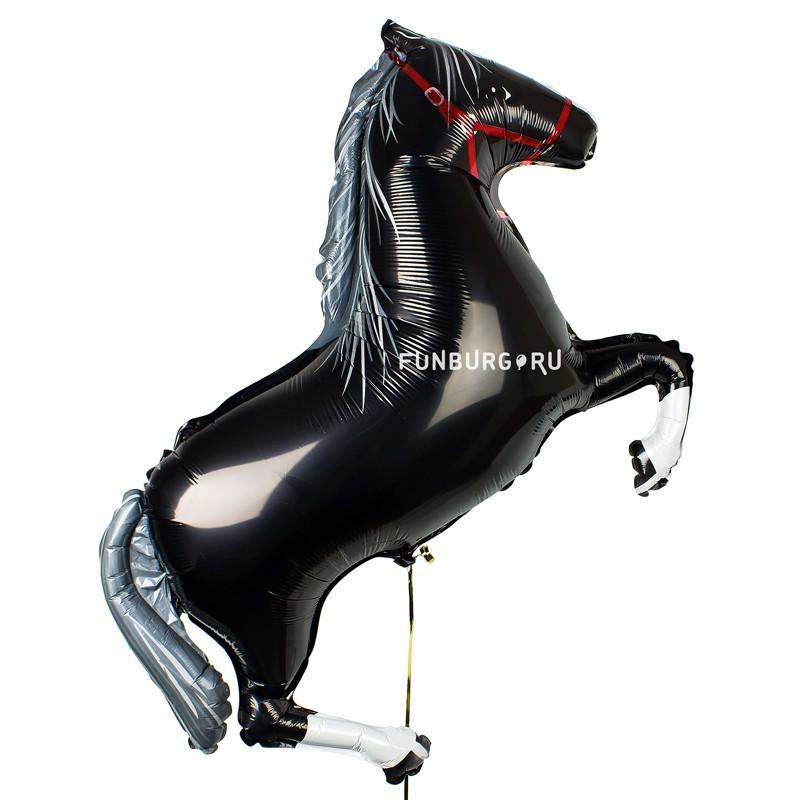 Шарик из фольги «Черная лошадка»С животными<br>Размер: 105 см Производитель: Flexmetal, Испания<br>