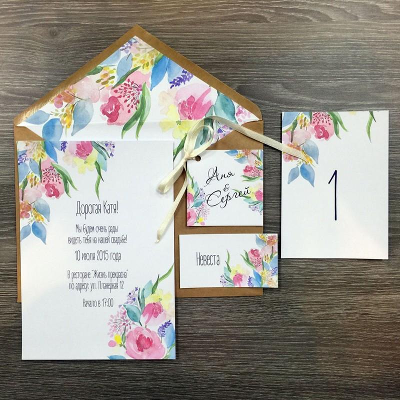 Комплект свадебной полиграфии №1Свадебные аксессуары<br> <br>Комплект:<br><br><br>конверт, приглашение, номер стола, бирка<br><br>