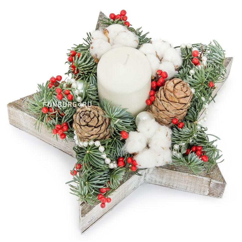 Композиция «Сочельник»Новый год и Рождество<br> <br>Размер:<br><br><br>диаметр 30 см, высота 14 см<br><br>
