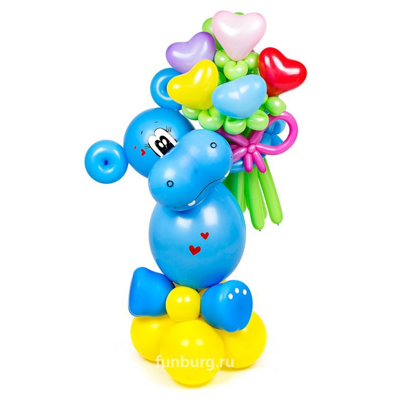 Фигура из шаров «Бегемотик»Все фигуры<br>Высота: 80-90 см<br> Производитель: Funburg.ru<br> Состав: бегемотик с цветочками<br>