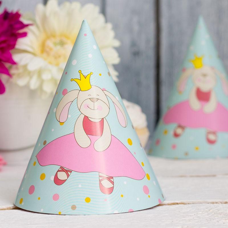 Набор колпачков «Принцесса Bunny» зайкаКолпачки и бабочки<br>Размер: 11?6 см<br>Крепление: регулируемая резинка<br>Материал: бумага<br>Количество: 6 шт<br>