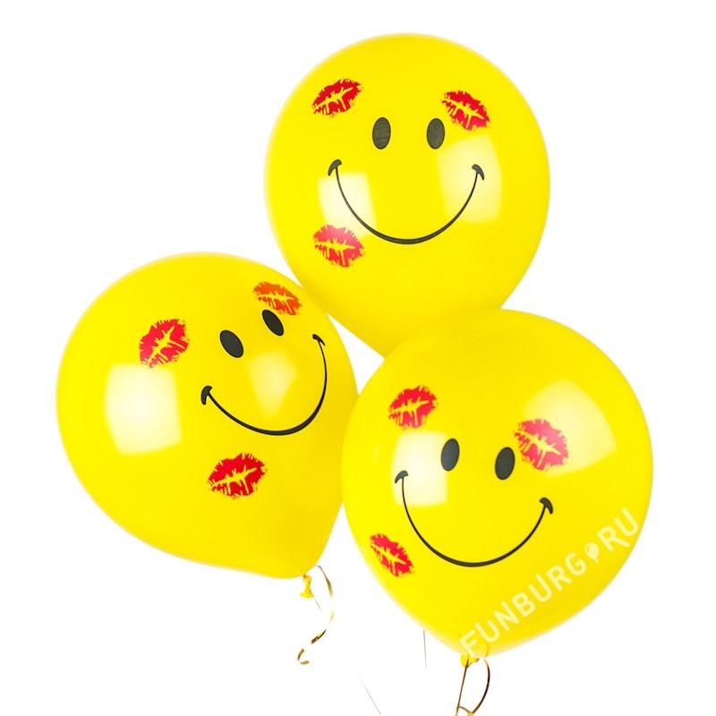 Шарики «Большие улыбки с поцелуями»Латексные с рисунком<br>Размер: 40 см (16)<br>Производитель: Sempertex, Колумбия<br>