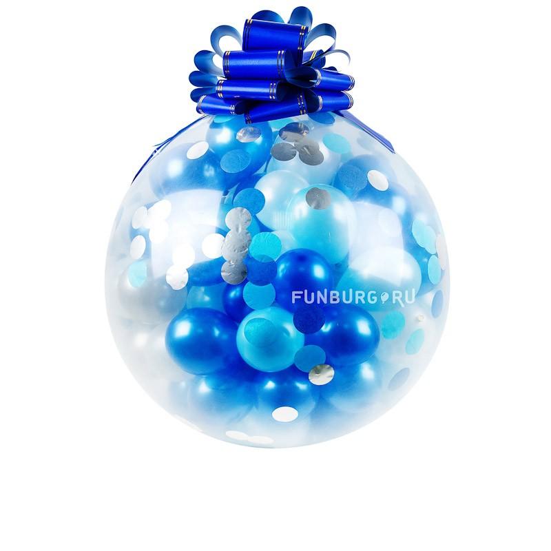 Огромный шар «Шар-сюрприз с конфетти»Метровые шары<br>Состав: метровый шар, 100 маленьких шариков (5), конфетти, бант<br>Диаметр: 80 см<br>Производитель: Sempertex, Колумбия<br>