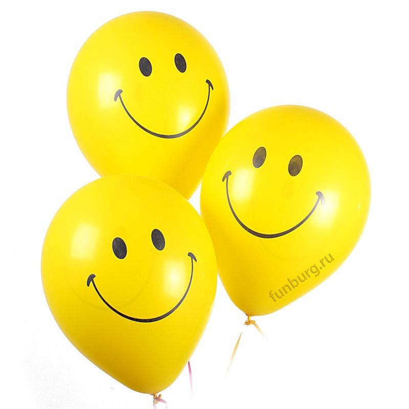 Воздушные шары «Жёлтые улыбки»Латексные с рисунком<br>Размер: 30 см (12)<br>Производитель: Sempertex, Колумбия<br>Цвет: жёлтый<br>