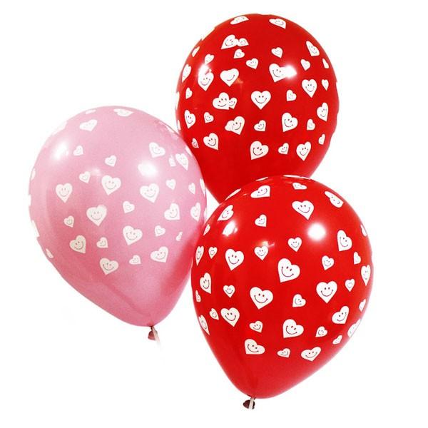 Воздушные шары «Сердечки-смайлики»Латексные с рисунком<br>Размер: 30 см (12)Производитель: Sempertex, КолумбияЦвет: красные и розовые шарики с сердечками-смайликами<br>