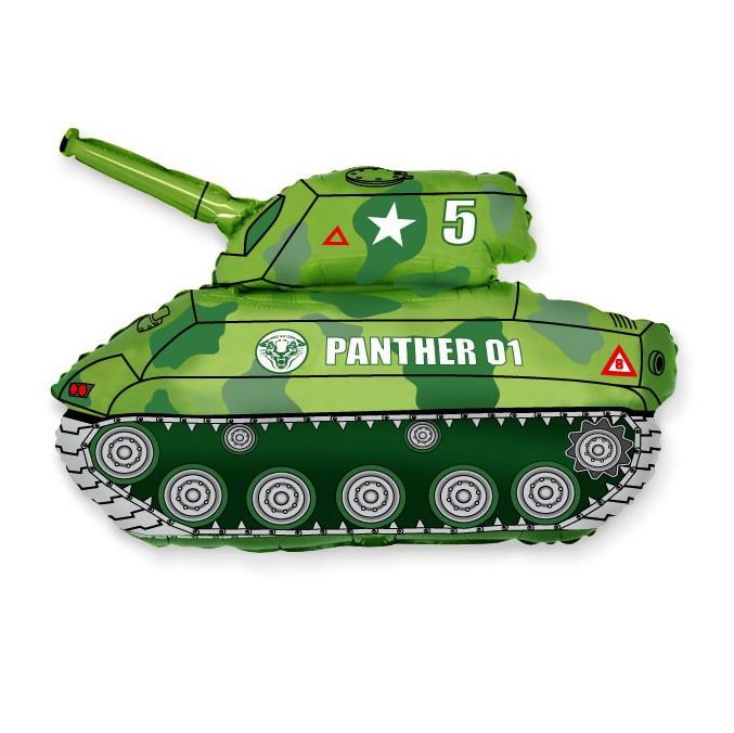 Шар из фольги «Зелёный танк»С техникой<br>Длина: 104 см Производитель: Flexmetal, ИспанияСтоимость фольгированного шара без гелия: 100.-<br>