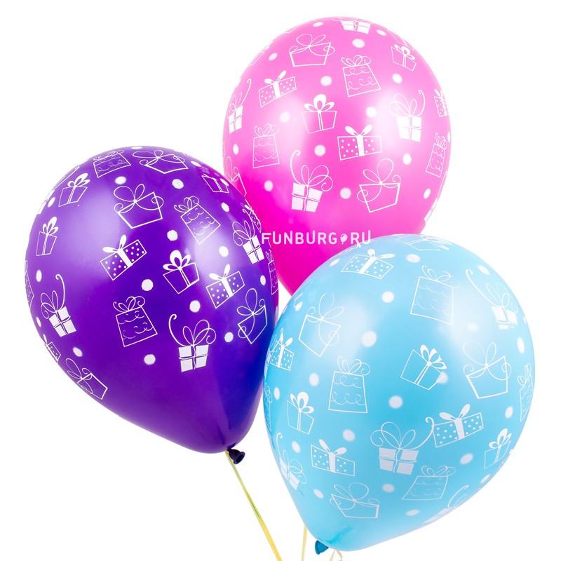 Воздушные шары «Подарки»Латексные с рисунком<br>Размер: 30 см (12)Производитель: Sempertex, КолумбияЦвет: ассорти (пастель)<br>