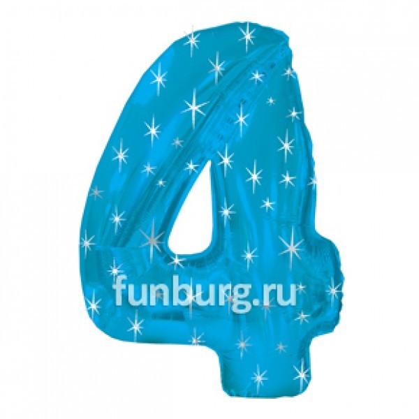 Шар из фольги «Цифра 4 (голубая)»Цифры<br>Размер: 100?60 см Производитель: CTI, США<br>