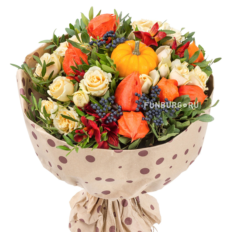 Букет «Дары осени»Осенние букеты<br> <br>Размер:<br><br><br>диаметр 35 см<br><br>
