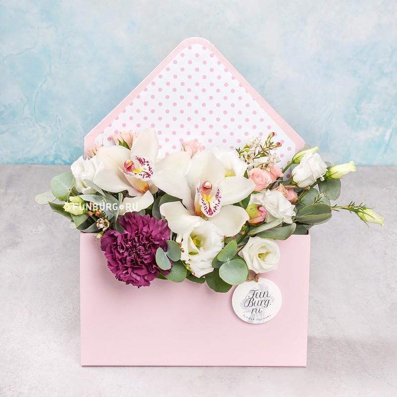 Композиция в конверте «Портофино»Коробочки с цветами<br> <br>Размер:<br><br><br>высота 26 см, ширина 16 см, глубина 6,5 см<br><br>