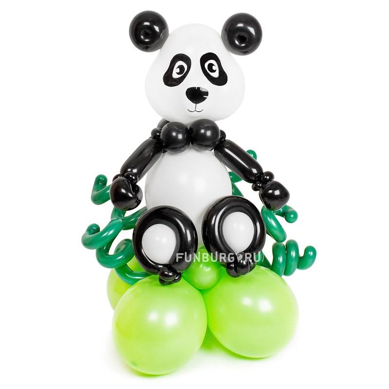 Фигура из шаров «Панда в бамбуковом лесу»С животными<br>Высота: 95-100 см<br> Производитель: Funburg.ru<br>