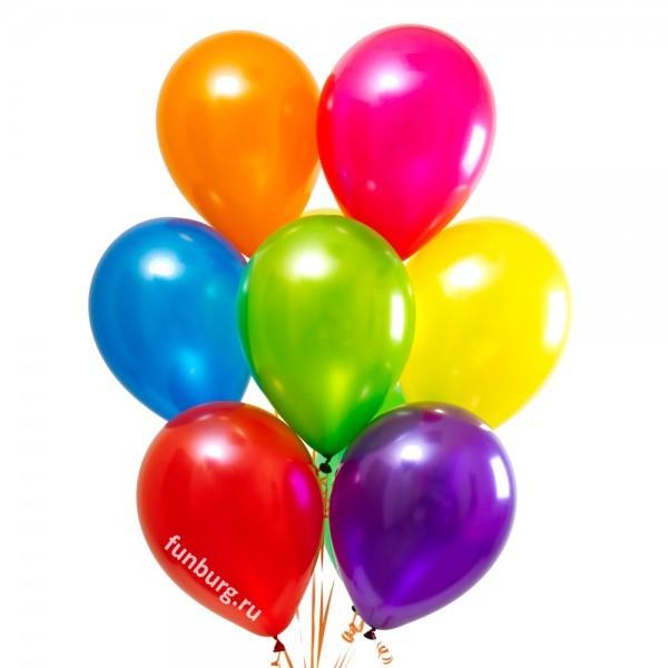 Шары без рисунка «Ассорти (металл)»Латексные без рисунка<br>Размер: 30 см (12)<br>Цвета ассорти: красный, оранжевый, жёлтый, зелёный, голубой, фиолетовый, фуксия<br>Производитель: Sempertex, Колумбия<br>