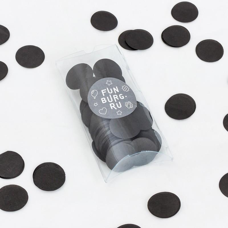 Бумажное конфетти «Черное»Конфетти<br> <br>Состав:<br><br><br>30 г бумажного конфетти черного цвета, пластиковая коробочка<br><br><br> <br>Размер:<br><br><br>диаметр 3 см, размер коробочки 7х12,5 см<br><br>