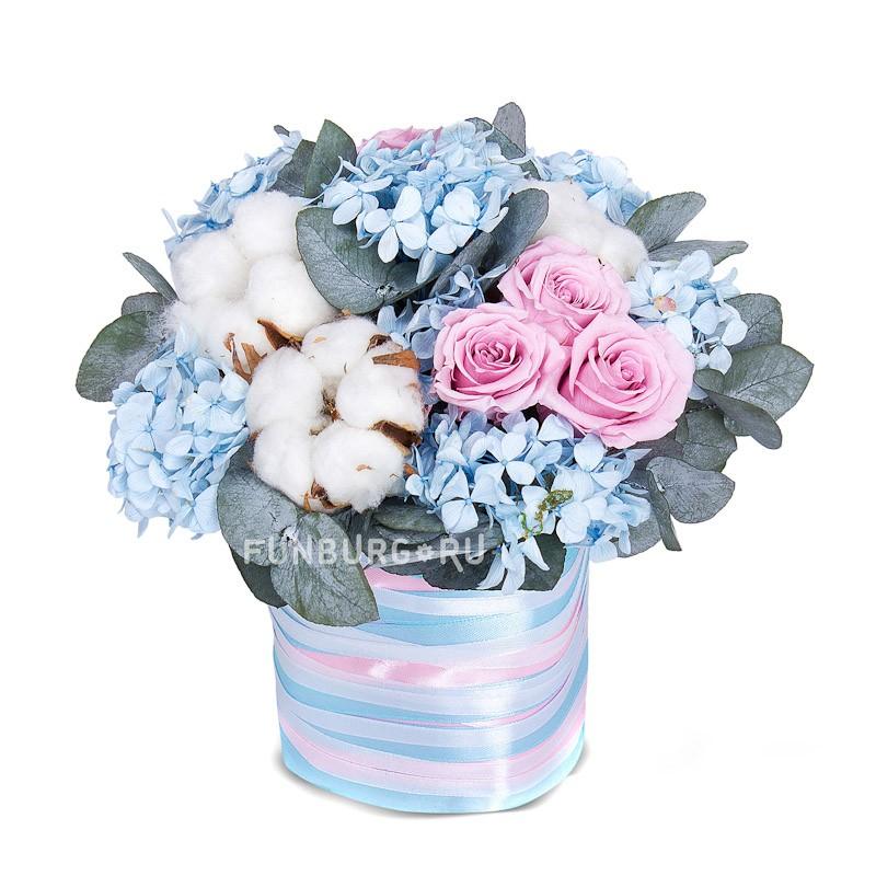 Композиция «Голубое облако» <br>Состав:<br><br><br>гортензия, 5бутонов роз, 1эвкалипт, 3соцветия хлопка, пиафлор, ленты атласные, декор<br><br><br> <br>Размер:<br><br><br>высота 20 см, диаметр 18 см<br><br>