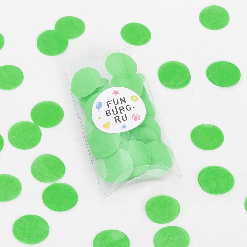 Бумажное конфетти «Зеленое»Конфетти<br> <br>Состав:<br><br><br>30 г бумажного конфетти, пластиковая коробочка<br><br><br> <br>Размер:<br><br><br>диаметр 3 см, размер коробочки 7х12,5 см<br><br>